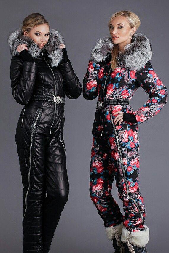 Fox fur hooded snowsuits