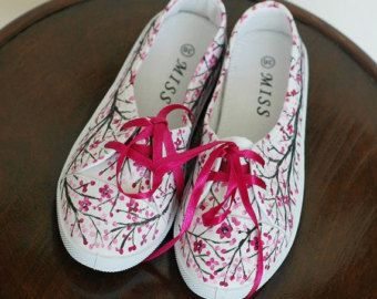 Hand-painted canvas shoes with lavender US size 8 by AKArtCrafts