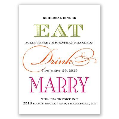Eat, Drink, Marry - Rehearsal Dinner Invitation