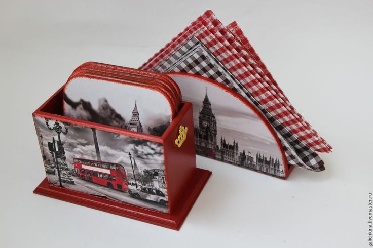 Купить Набор для кухни Лондон - ярко-красный, Декупаж, декор для интерьера, лондон, английский стиль