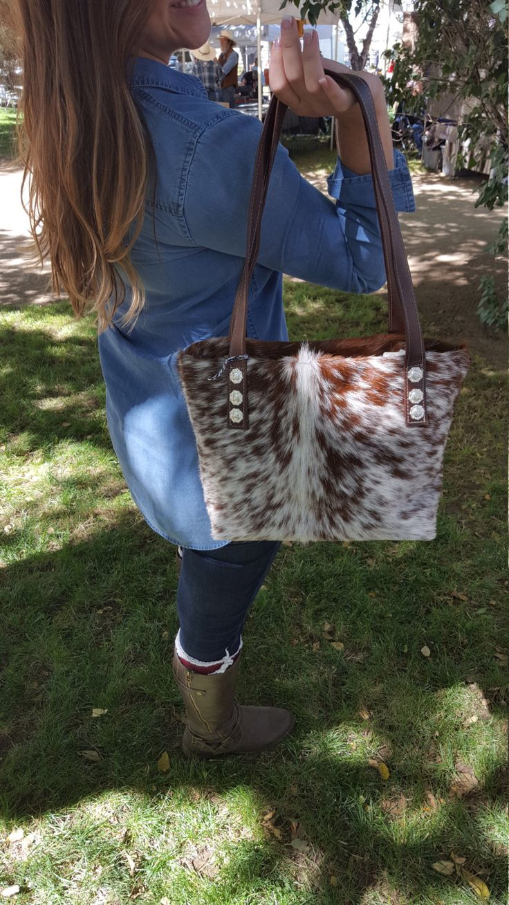 Cowhide Western Purse Tote Bag with Leather Handles & Conchos by WesternFaithDesigns on Etsy