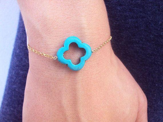 Clover bracelet for Girls Turquoise Bracelet by VasiaAccessories