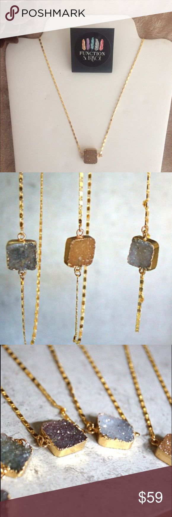 """Function & Fringe Natural Druzy Necklace Beautiful Neutral Tone Peach Druzy placed on a 16"""" 18k gold plated chain and finished with the Function & Fringe signature gold feather at the clasp. No two are the same! This is a staple boho layering piece! Designed and made in California.  Function & Fringe Jewelry Necklaces"""