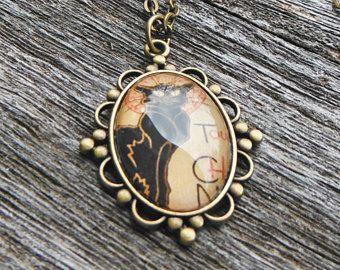 Art Nouveau Necklace, Cat Glass Dome Pendant Necklace