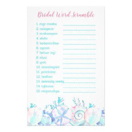 Pink Nautical Beach Bridal Word Scramble Game Flyer  $0.75  by LittlePrintsParties  - custom gift idea