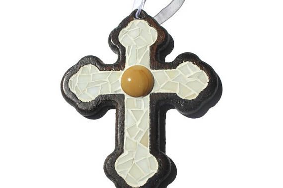 White Mosaic cross wall hanging decoration Stained glass and