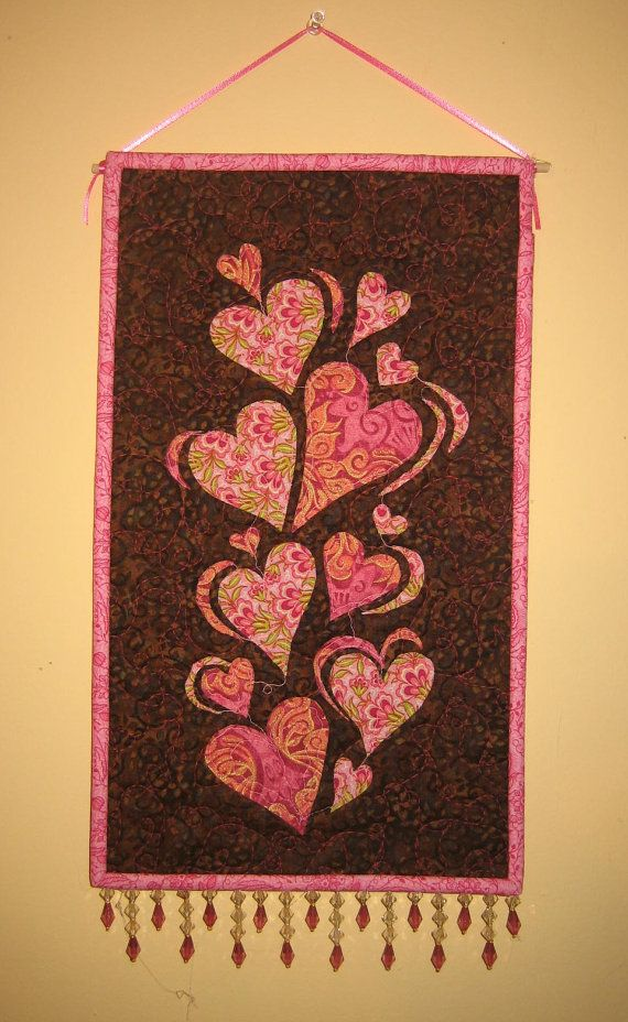 Pink Valentine Hearts Fabric Wall Hanging Handmade Wall