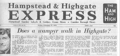 Headline in the Hampstead and Highgate Express, 1970