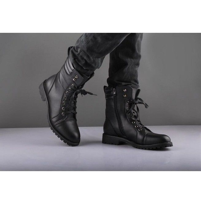 Mens Knight Boots 2019 Mid Leg Patent Leather Boots Long Military Boots For Man Waterproof Work Shoes Male Winter Men's Boots