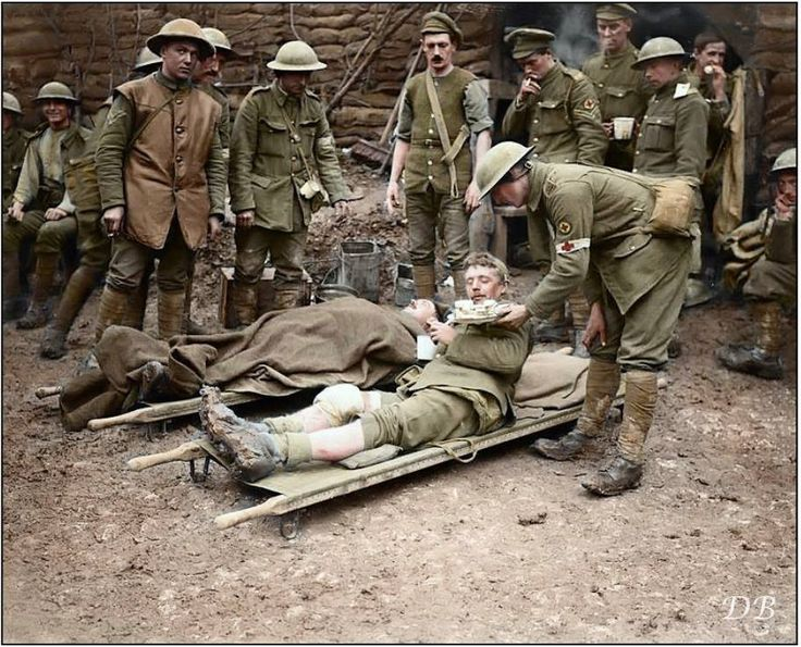 November 1916  Battle of the Ancre:  British wounded and Royal Army Medical Corp staff at a Dressing Station in Aveluy Wood, north of Albert, Somme. 13 November 1916.   The last act of the Somme offensive took place in the Ancre sector from 13 to 19 November. The operation went ahead, despite repeated postponements, largely because it was hoped that a late British success might create a favourable impression at the inter-Allied conference at Chantilly on 15 November.