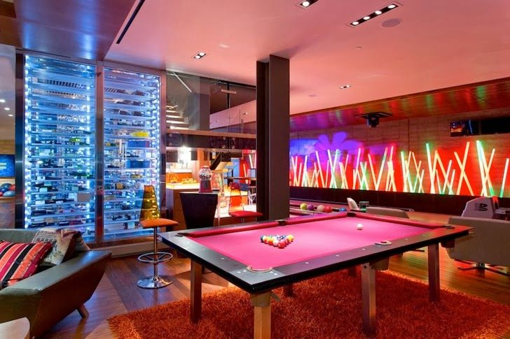 Modern Basement With Bowling Alley Pool Table Maybe Add