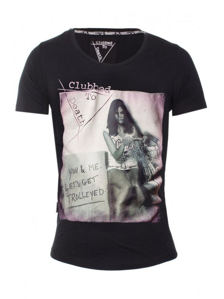 Clubbed To Death T-Shirt Trolleyed Scoop Neck in Jet Black