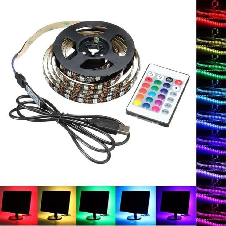 1M 2M 3M 4M USB 5V 5050 60SMD/M RGB LED Strip Light TV Back  sc 1 st  Pinterest & Best 25+ Rgb led strip lights ideas on Pinterest | Strip lighting ... azcodes.com