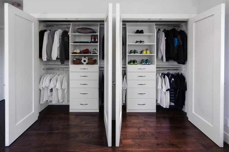 White Thermally Fused Laminate Double Reach In Closet By Valet Custom  Cabinets U0026 Closets