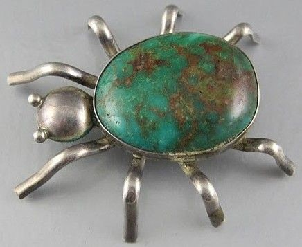 Vintage Native American Turquoise Jewelry | Native American Sterling and Turquoise Spider Pin Brooch 1