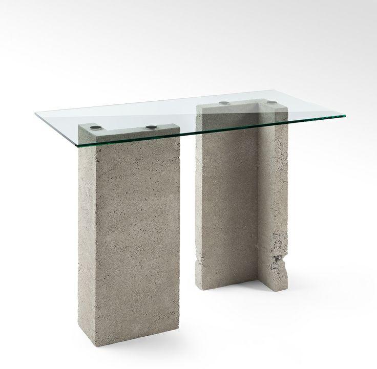 Stół betonowy ze szklanym blatem