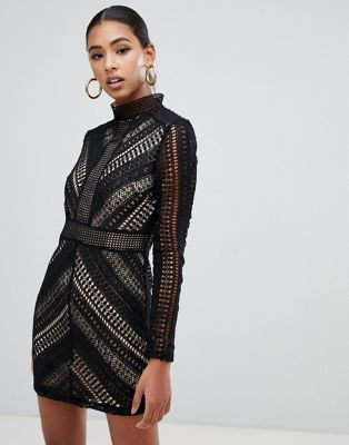 18f2c12aa93 Shop Boohoo high neck crochet panel bodycon dress in black at ASOS.  Discover fashion online.
