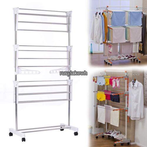 Acél-Folding-mosoda-Ruha-szárító állvány-szervező-szárító-akasztó-Free-Standing