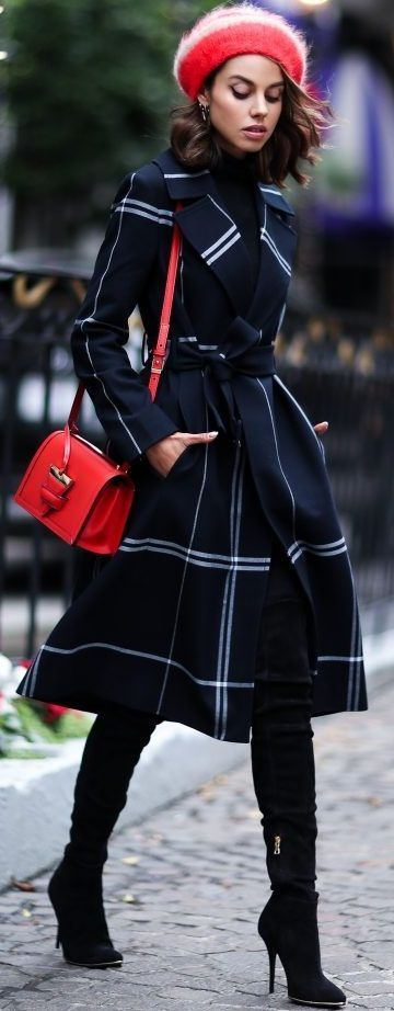 amazing outfit idea: red hat + bag + plaid coat + over knee boots