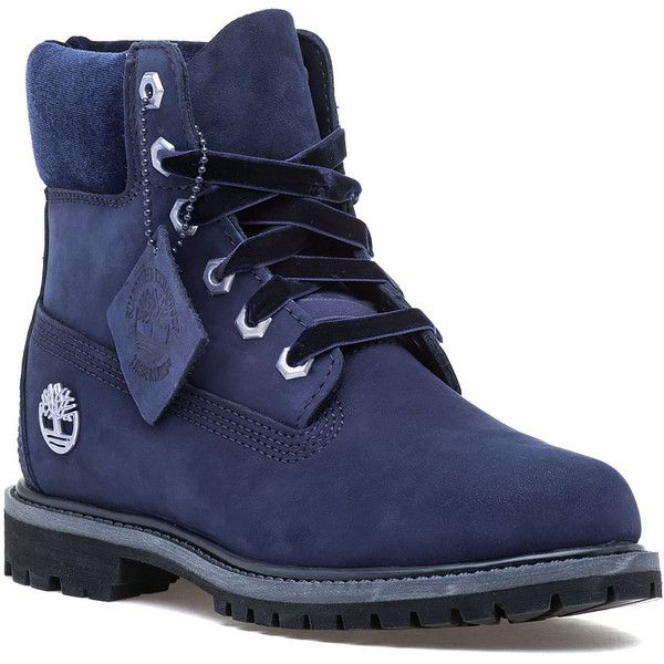 TIMBERLAND Premium 6 Inch Boot Navy Nubuck ($170) ❤ liked on Polyvore featuring shoes, boots, ankle boots, navy nubuck, navy bootie, twisted boots, waterproof boots, water proof boots and navy blue ankle boots