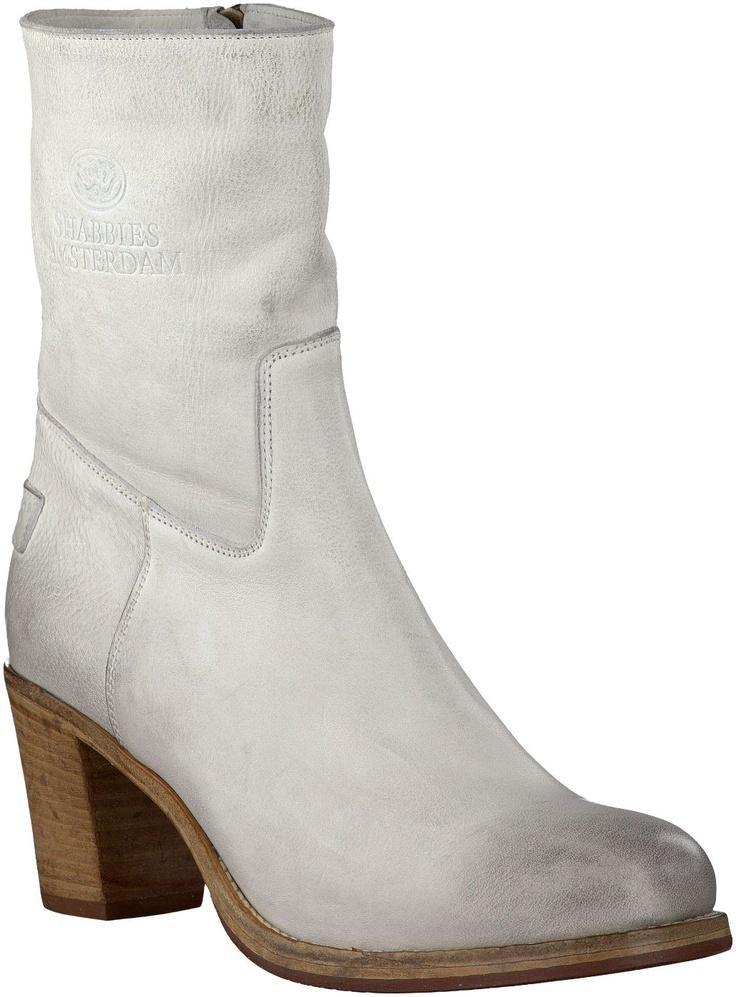 Gebroken-witte Shabbies korte laarzen 108049