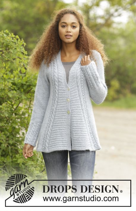Bridget Jacket with cables lace and textured pattern by DROPS Design Free #knitting Pattern