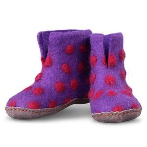 Lilla filtede uldstøvler med pink prikker Green Comfort