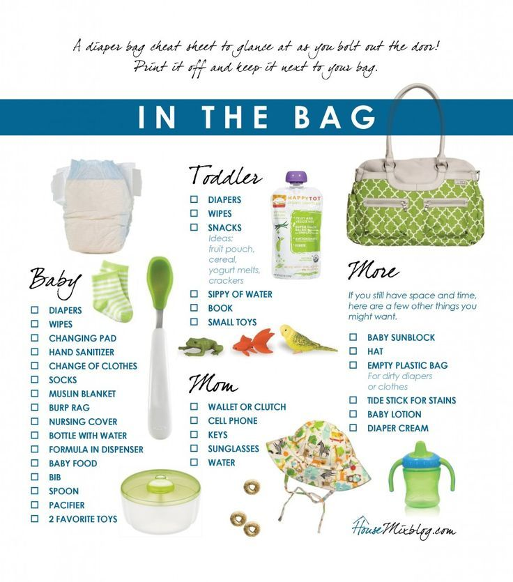 Free printable diaper bag checklist. Handy to keep near the diaper bag.