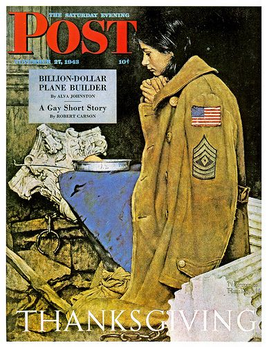 thanksgiving saturday evening post covers | Saturday Evening Post, Thanksgiving 1943 by Norman Rockwell