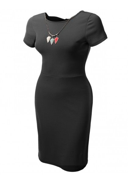Short Sleeve Fitted A-Line Dress with Removable Necklace #jtomsonplussize