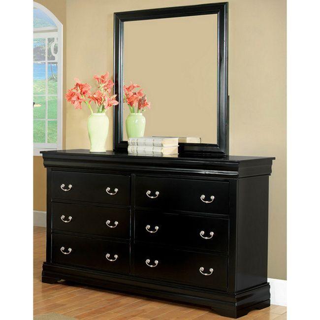 Best Furniture Of America Marikina Black Dresser With Mirror By 400 x 300