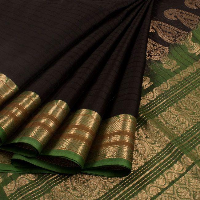 Handwoven Gadwal Silk Cotton Saree With Zari Border 10019846 - AVISHYA.COM