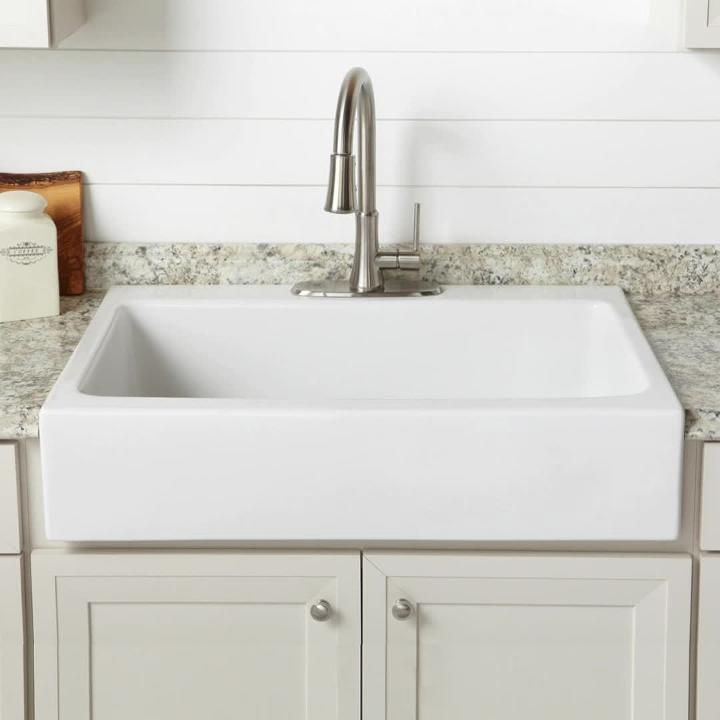 Sinkology Josephine Quick Fit Drop In Farmhouse Fireclay 33 85 In 3 Hole Single Bowl Kitchen Sink In Crisp White Sk450 34fc The Home Depot In 2020 Farmhouse Sink Kitchen Single Bowl Kitchen Sink Kitchen Sink