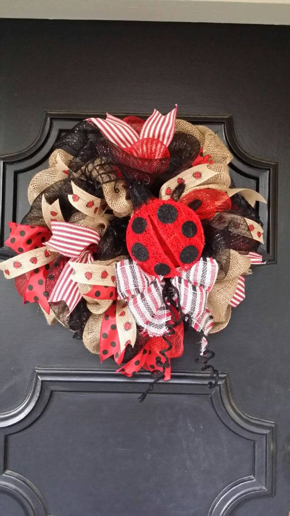Ladybug Wreath Summer Burlap Wreath Ladybug by Underthekentuckysun