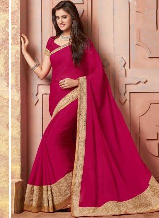 Marvelous Magenta Embroidery Work Georgette Designer  Sarees http://www.angelnx.com/Sarees/Bollywood-Sarees#/sort=p.sort_order/order=ASC/limit=32/page=3http://www.angelnx.com/Sarees/Bollywood-Sarees#/sort=p.sort_order/order=ASC/limit=32/page=3