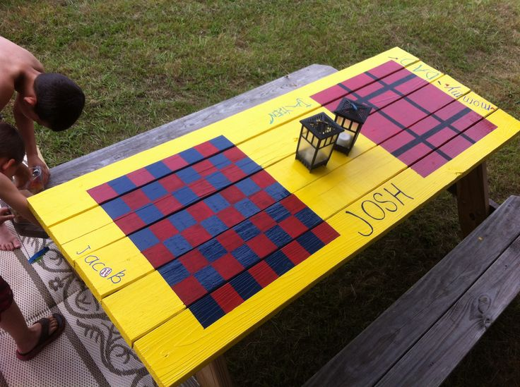 Painted picnic table Checkers  Tic Tac Toe It would be fun to sit out on the patio and play games when it is too hot to be out in the sun. Or too rainy to be out in the yard!