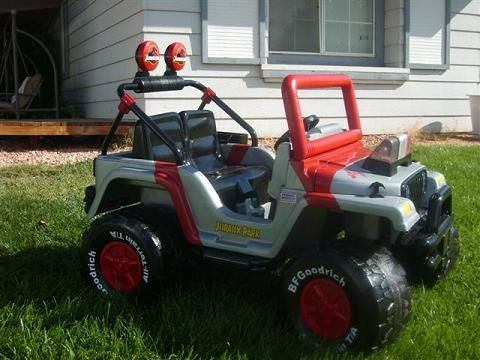 Modified Power Wheels - barbie jeep redone to jurassic park jeep