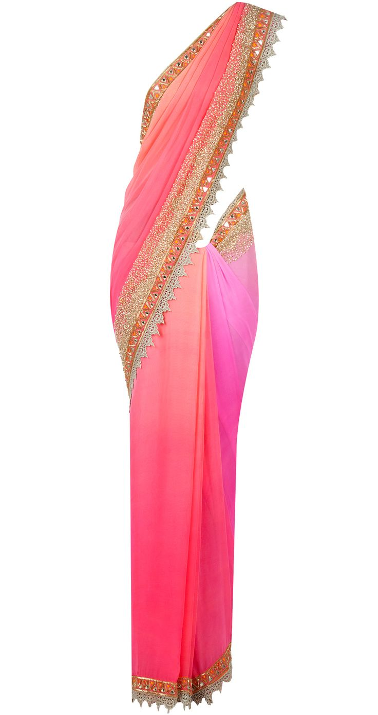 Mirrorwork border sari. Love the Coral not the pink, but the border is beautiful