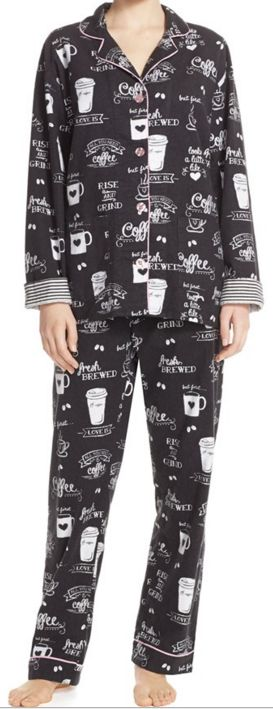 Darling rise and shine coffee print flannel print pajamas: