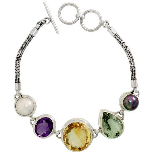 Sterling Silver Bali Style Byzantine Toggle Bracelet, w/ Black & White Pearls, 17mm Brilliant Cut Citrine, Oval Cut 13x11mm Amethyst & Pear Cut 16x12mm Green Amethyst (ALL NATURAL STONES), 3/4 inch (19 mm) wide Sabrina Silver. $158.34