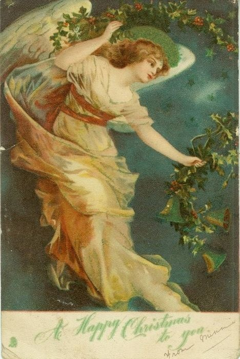 A Happy Christmas to you ~ angel with holly garland
