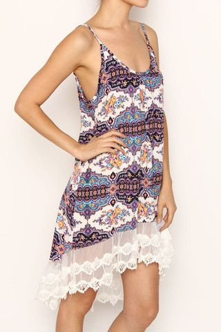 Clothing Top - Print Tunic/Dress With Lace Trim | Ruth & Ruth