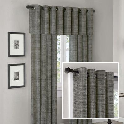 Madison Park Anderson Silk Texture Grommet Panel And Valance Set In Slate  Blue