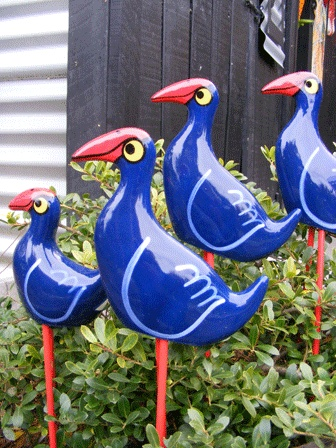 Pukekos NZ...Ceramic Birds by Kevin Kilsby