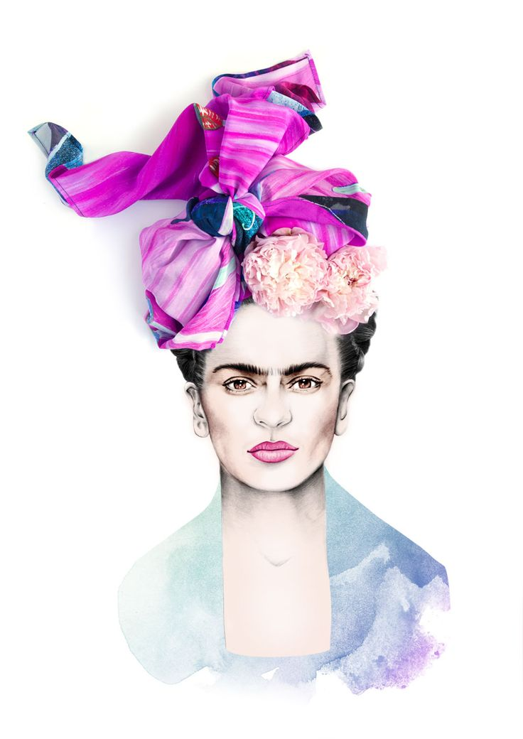 Frida Kahlo Portrait Illustration |with Age of Reason Scarf | Georgie St Clair Design & Illustration | Brighton