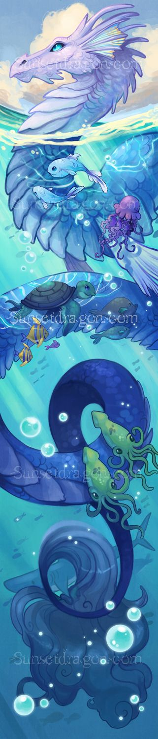 Sea Dragon by Flying-Fox.deviantart.com -  I love the colours in this and the happy dragon face :). #dragon