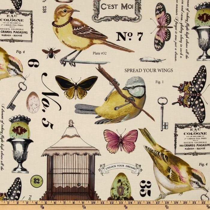 Michael Miller Botanika Wing Study Ivory - Discount Designer Fabric - Fabric.com