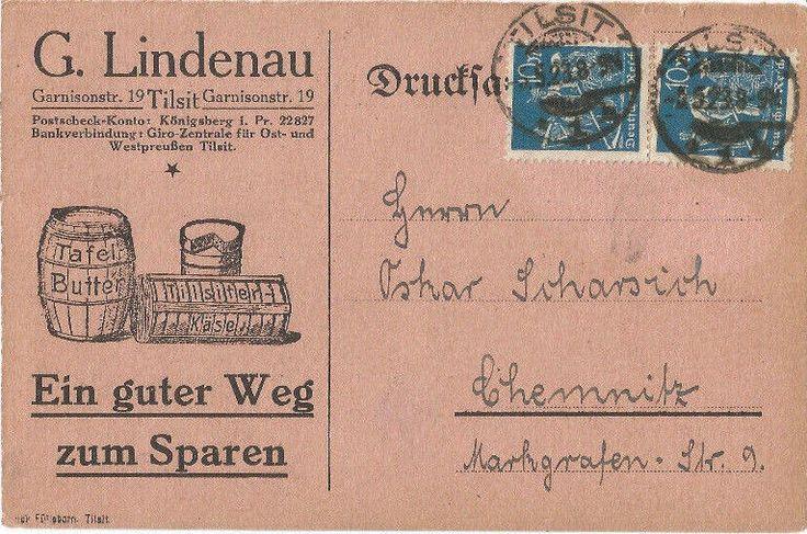 Tilsit, Ostpreussen, Lindenau, Tilsiter Käse, Reklame-Karte von 1923, Inflation