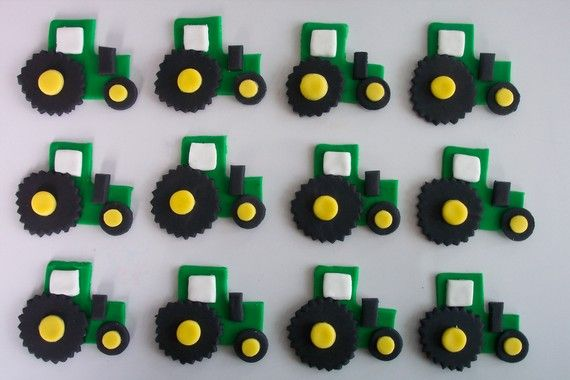 Green Tractors Fondant Cupcake or Cookie Toppers Edible