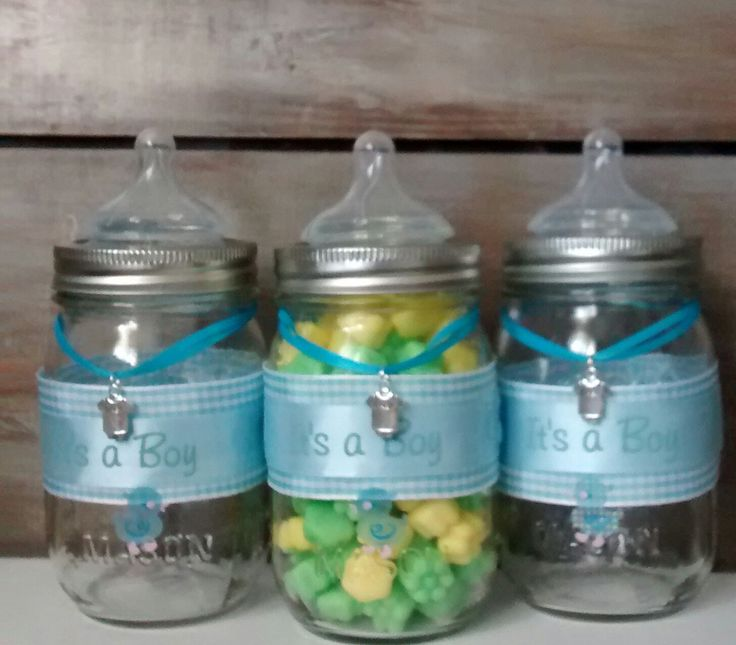 Baby shower favor mason jars blue baby bottle baby for Baby bottle decoration ideas